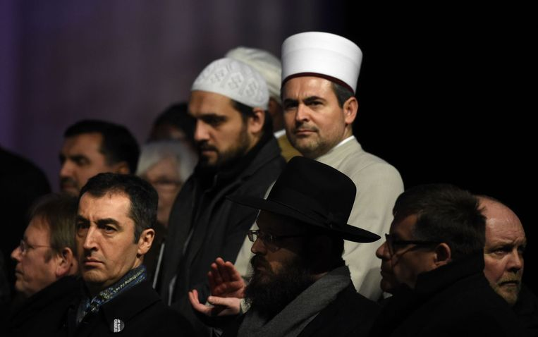 De wake in Berlijn is georganiseerd door islamitische organisaties in Duitsland. Beeld afp