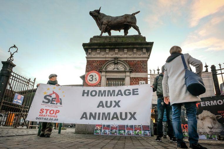 actie aan de slachthuizen in Anderlecht