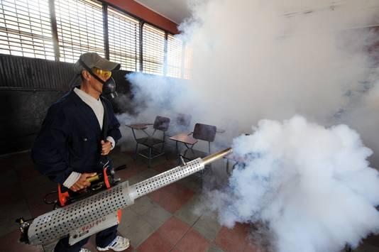 De autoriteiten proberen in de getroffen landen de muggen met wolken pesticiden een kopje kleiner te maken