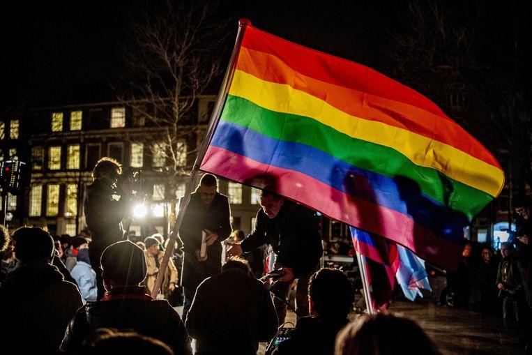 De Viering van de Liefde bij het Homomonument in Amsterdam, vorige week, in reactie op de Nashville-verklaring. Beeld ANP