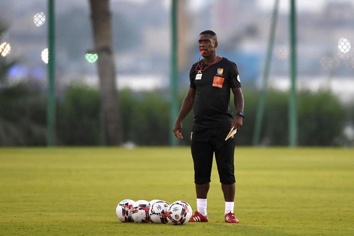 Clarence Seedorf tijdens de training van Kameroen.