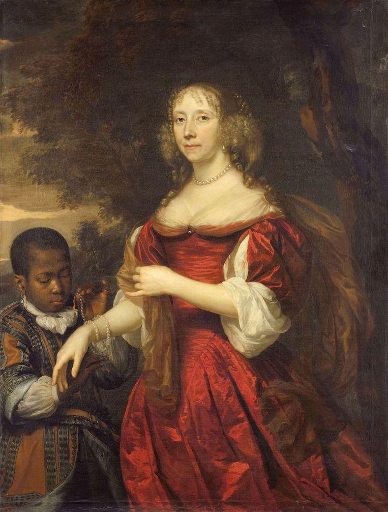 Nnegerbediende' op het portret van Margaretha van Raephorst is een 'jonge zwarte bediende' geworden Beeld Rijksmuseum
