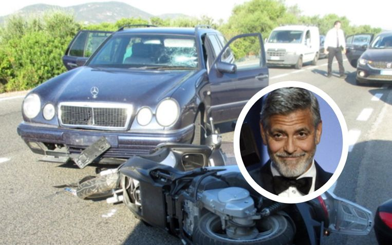 George Clooney reeds frontaal op een wagen die op de verkeerde kant van de weg stond.
