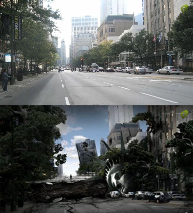 Een Photoshop kunstenaar toverde de bovenste foto om in de onderste foto in 3 uur en 58 minuten.