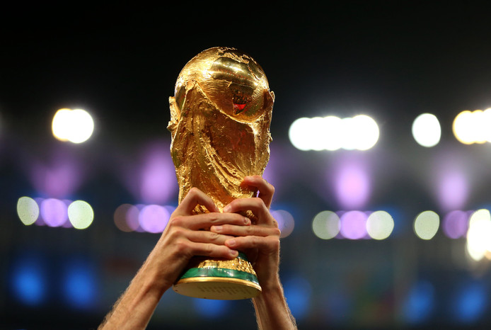 File photo dated 13-07-2014 of A Germany player lifts the FIFA World Cup Trophy ! only BELGIUM !