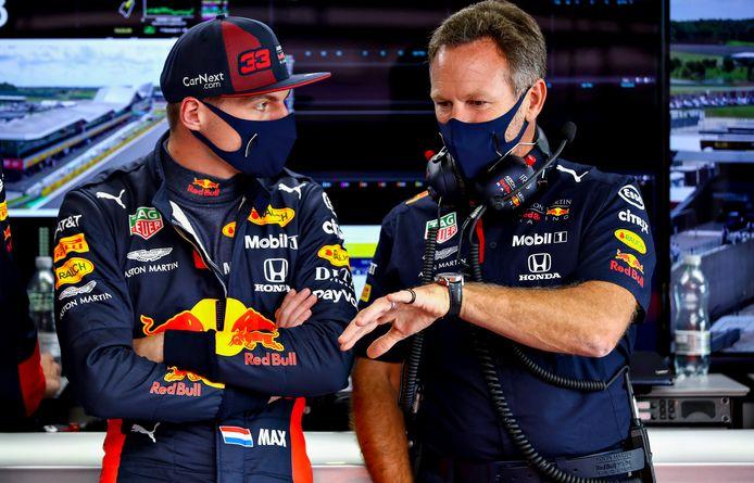 Max Verstappen en Christian Horner