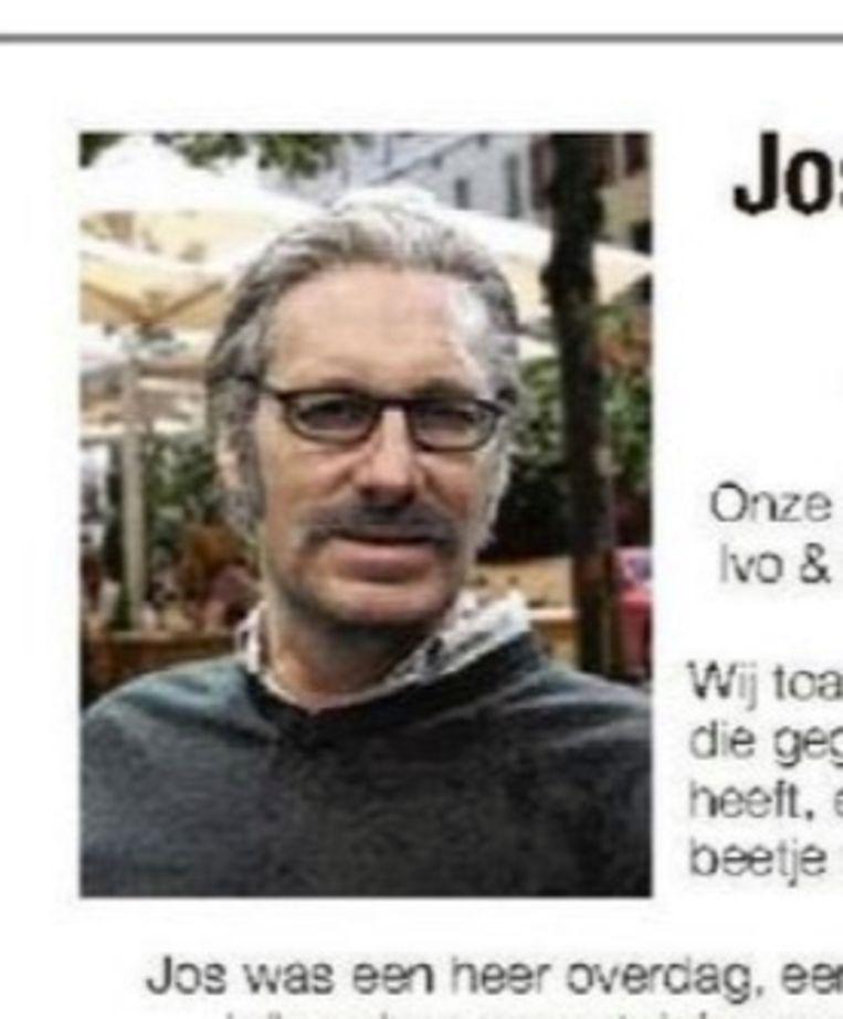 Gert Verhulst in het valse doodsbericht.