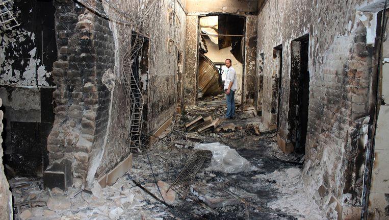 Het gebombardeerde ziekenhuis in Kunduz. Beeld ap