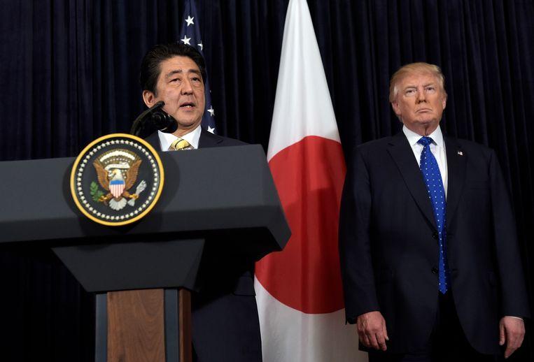 De Japanse premier Shinzo Abe en de Amerikaanse president Donald Trump.