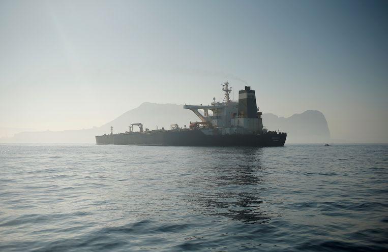 De Iraanse tanker Grace 1 bij Gibraltar. Beeld REUTERS