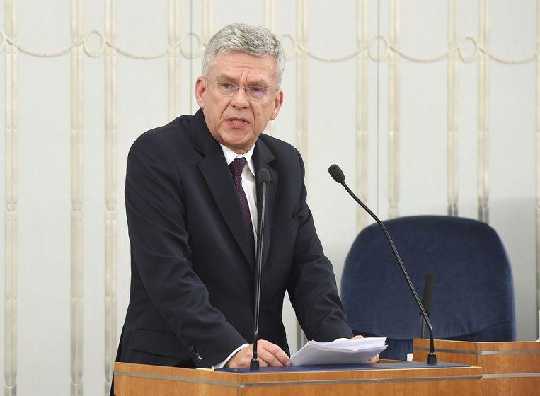 De Poolse politicus Stanislaw Karczewski neemt het woord.