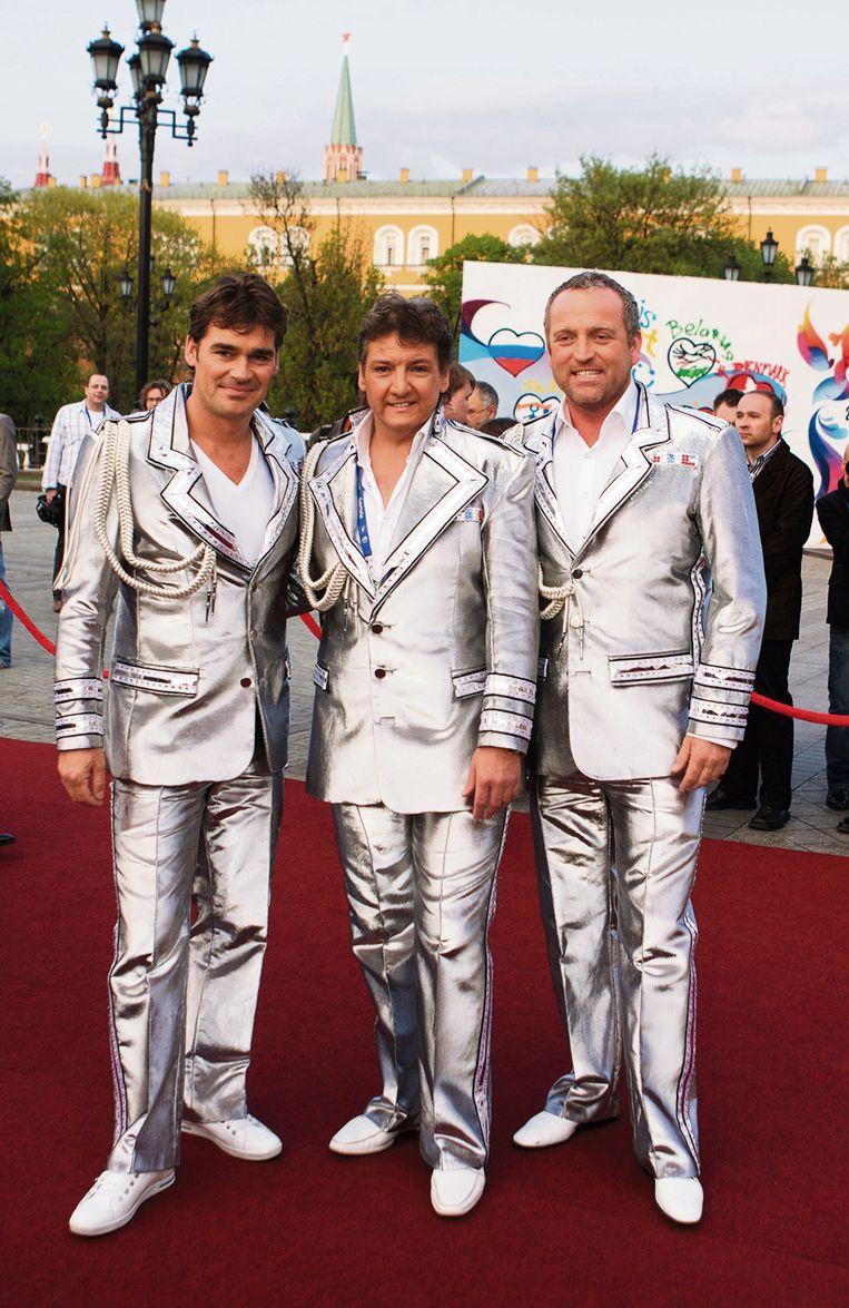 De Toppers op het Eurovisie Songfestival 2009 in Moskou. Beeld Getty Images
