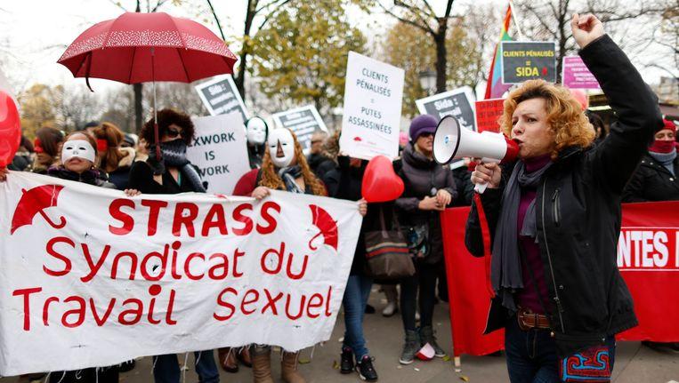 Franse prostituees protesteren voor de decriminalisering van prostitutie.