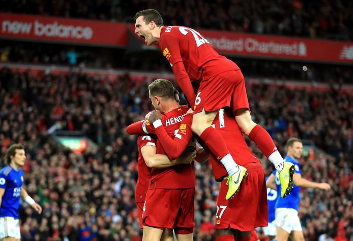 Dolle vreugde bij Liverpool na de benutte strafschop in blessuretijd.