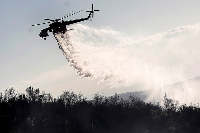 Meer dan 120 brandweerlieden, geholpen door helikopters en andere vliegtuigen, vochten tegen de brand op Evia, het op een na grootste eiland van Griekenland.