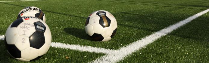 Voetbal kunstgrasveld stock
