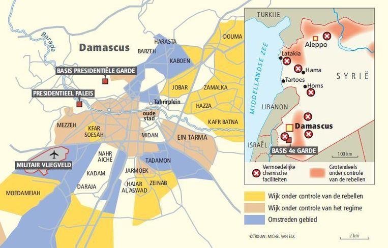 Damascus in kaart: waar zit het regime en waar zijn de rebellen? Beeld Trouw: Michel van Elk