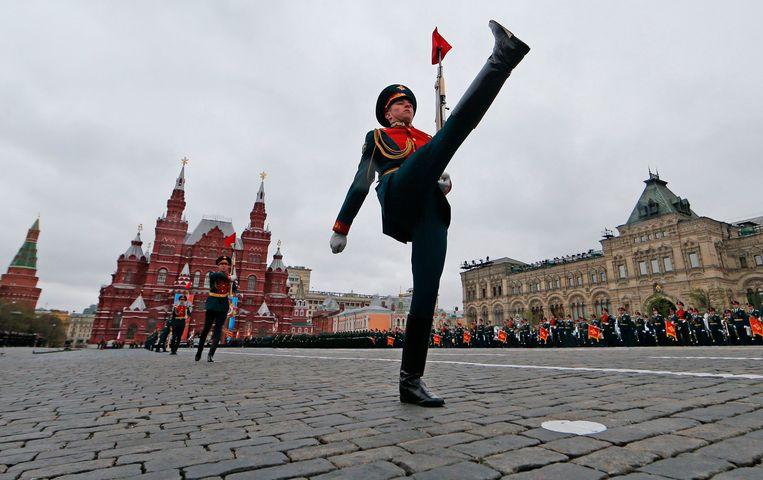Militaire parade op het Rode Plein in Moskou. Beeld AFP