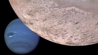 Reuzenmaan Triton crashte tussen manen van Neptunus