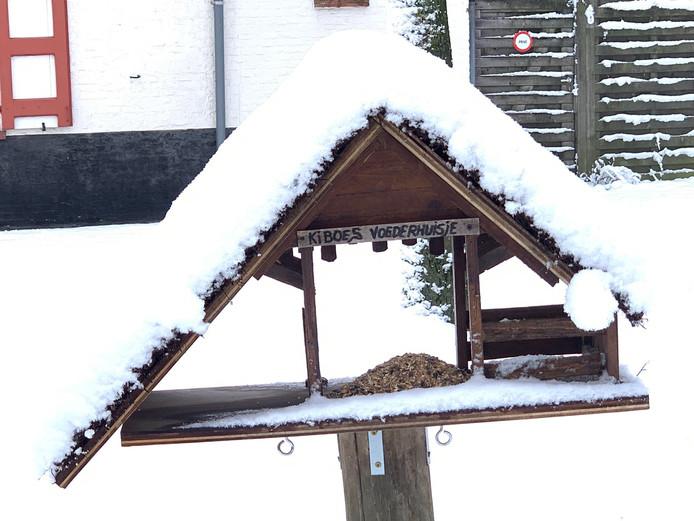 Kinderboerderij De Zeven Torentjes plaatste een voederhuisje buiten, zodat de vogeltjes geen honger hoeven te lijden.