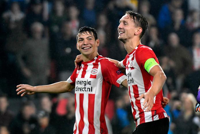 Hirving Lozano en Luuk de Jong staan dit seizoen aan de basis voor veel PSV-doelpunten.