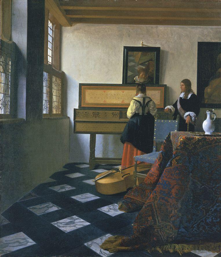 De muziekles (1660-1662) van Johannes Vermeer Beeld Royal Collection Trust