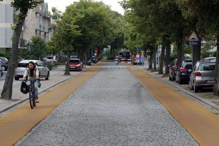 De okergele fietssuggestiestroken in de Vredestraat mogen dan niet om aan te zien zijn, ze verhogen wél de verkeersveiligheid, vindt mobiliteitsschepen Weydts.