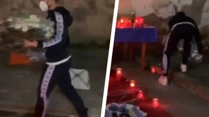 Dries Mertens legt bloemen aan herdenkingsplaats Maradona na Europa League-wedstrijd
