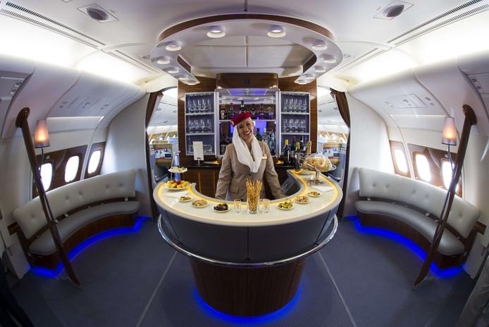 De superdeluxe businessclass in een Airbus A380 van Emirates.