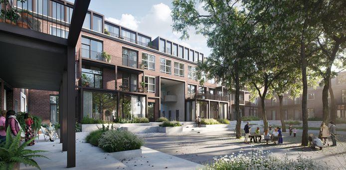 Een impressie van hoe de voormalige school Bataafse Kamp er straks uit komt te zien. Ontwikkelaar Hans Kloosterman heeft nu een plan voor de herinrichting van het park gemaakt.