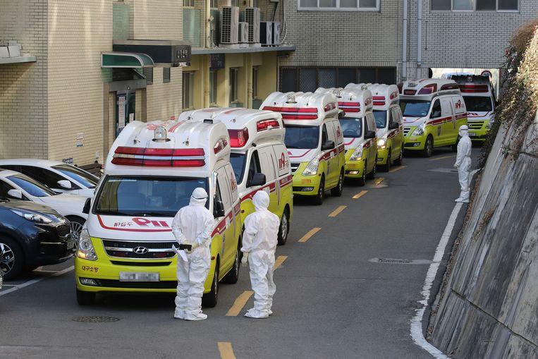 Ambulances vervoeren besmette coronapatiënten naar het ziekenhuis in Daegu. Beeld AP