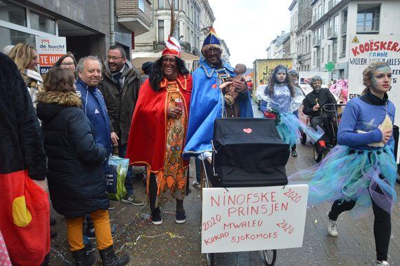 De Ninofske prinsen van 2020: Mwaleu, Kakao en Sjokomoes.