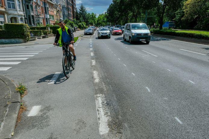 La piste cyclable sur le Boulevard Lambermont