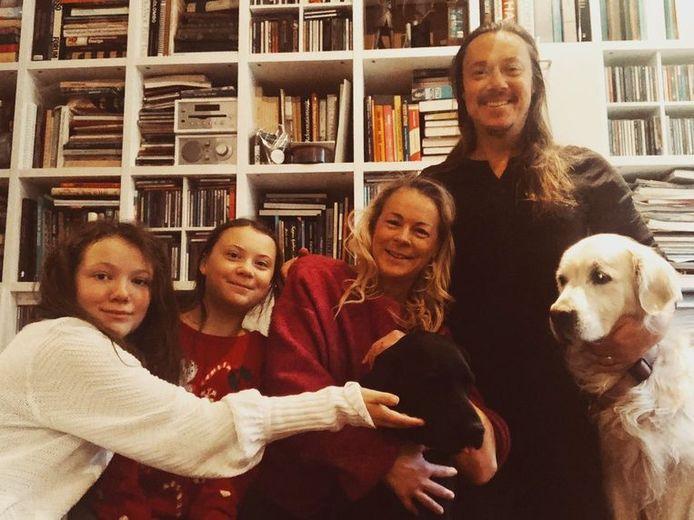 Klimaatmeisje Greta met haar familie.