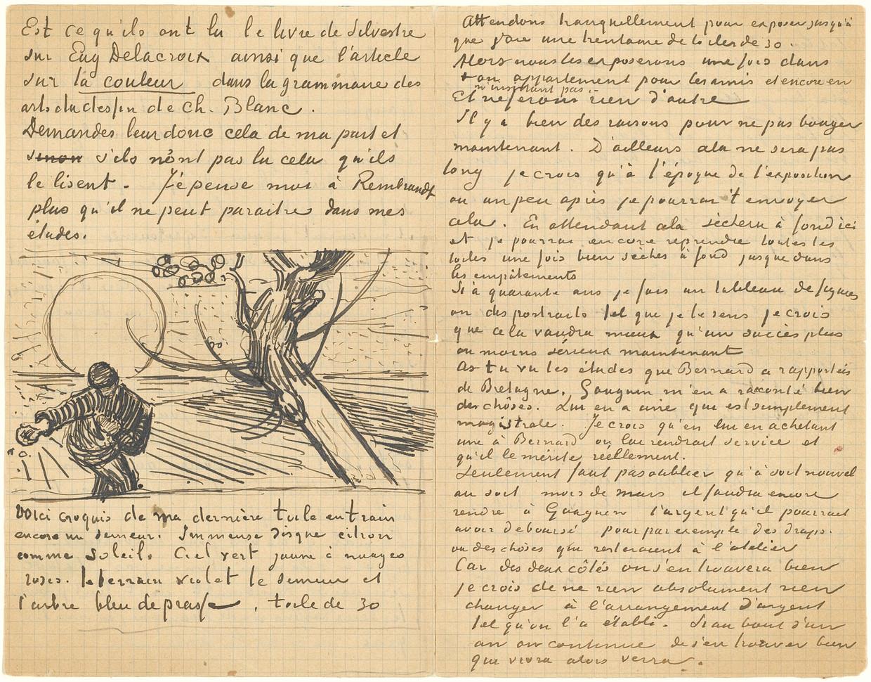 Brief van Vincent aan Theo, met schets van 'Zaaier met ondergaande zon' (verso), Arles, circa 21 november 1888. Beeld Van Gogh Museum, Amsterdam