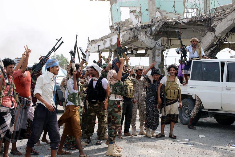 Soldaten van de separatistische Zuidelijke Overgangsraad in de Jemenitische  stad Aden.