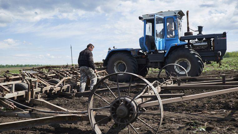 Een boer bewerkt zijn land in Oost-Oekraïne Beeld anp