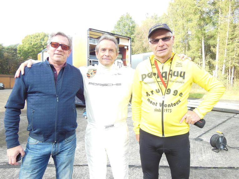 2014: Roland Hurtecant (rechts) ontmoette op het vliegveld Ursel zijn held Jacky Ickx, samen met Max de barman van de vliegclub.