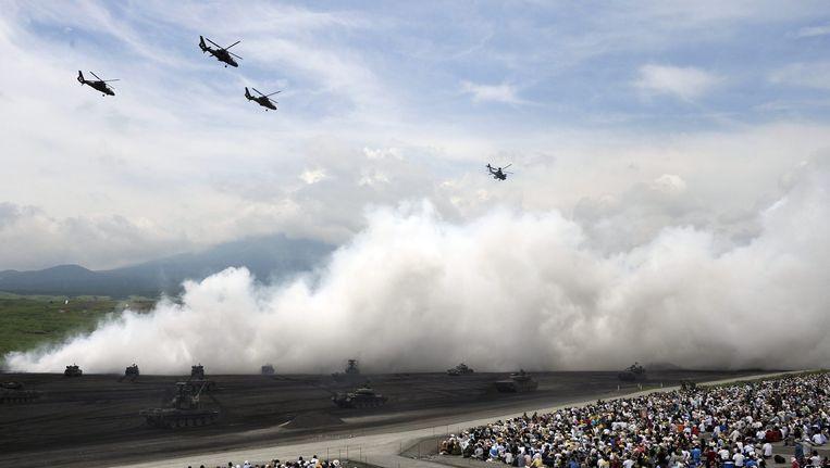 Jaarlijkse militaire oefening in Gotemba, ten zuidwesten van Tokyo. Beeld epa