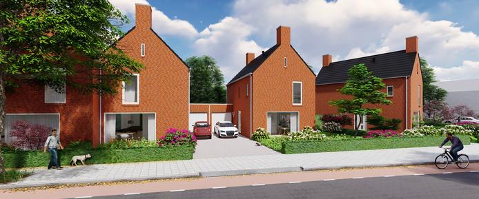 Impressie van de nieuwe energieneutrale woningen in 't Haegendal die worden gebouwd aan de Hogenkampseweg in Renkum.