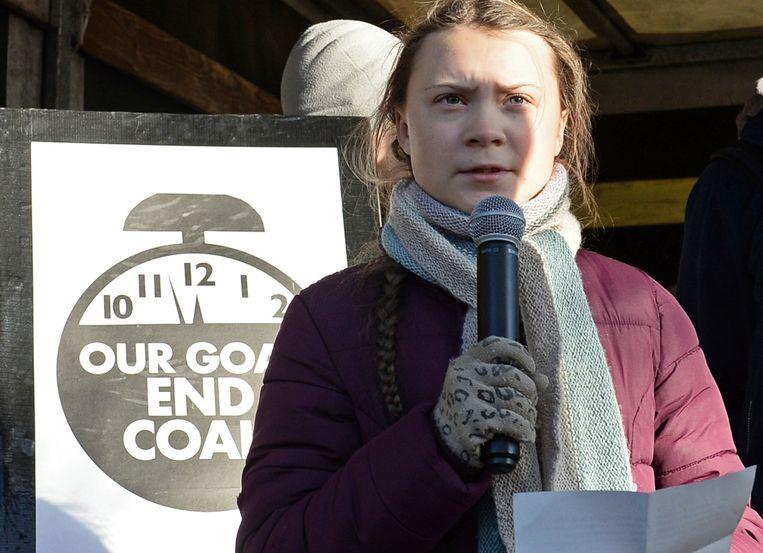 We zijn te laf om te doen wat nodig is, zei de 15-jarige Zweedse activiste Greta Thunberg in Katowice. Beeld AP