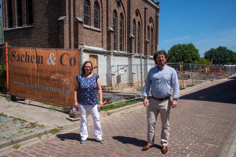 Ann Mercie en Filip Michiels aan de werf waar het water zal gerecupureerd worden.