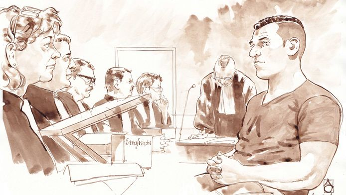 Rechtbanktekening van de regiezitting van verdachte Armin A.(R)