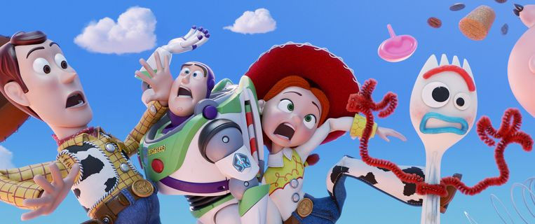 Woody, Buzz Lightyear, Jessie en Vorkie in Toy Story 4. Beeld null