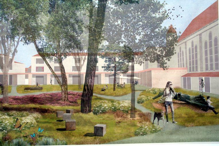 Zo zal de tuin er binnen enkele jaren uitzien, wanneer de kerk is omgevormd tot cultuurhuis en er op de site een nieuw woonproject is.