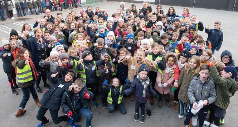 Deze leerlingen zijn vandaag alvast te voet of per fiets naar school gekomen.