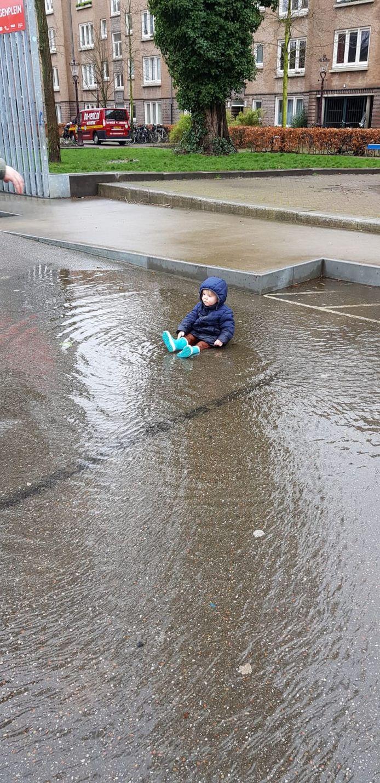 Van Beuningenplein, Westerpark. Mels (1,5) kreeg spontaan zin in een duik.