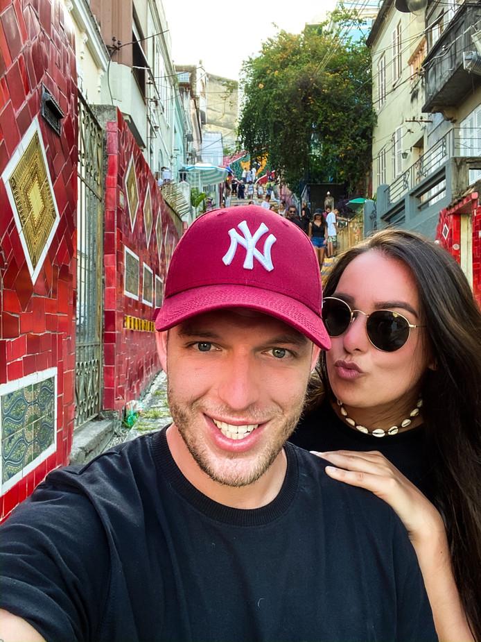 Lex van Berkel in betere tijden met zijn vriendin Anne. Het stel verblijft twee weken in Brazilië.