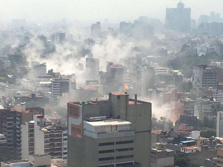 Mexico-Stad na de aardbeving dinsdag. Beeld epa