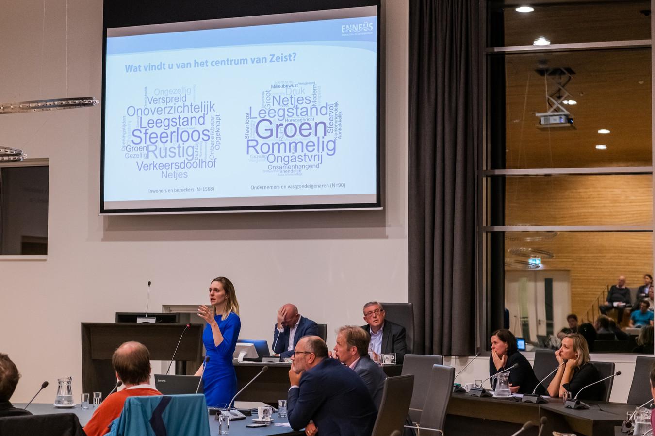 Beeld van de presentatie van het onderzoek van Bureau Enneüs naar het centrum van Zeist. FOTO MEL BOAS